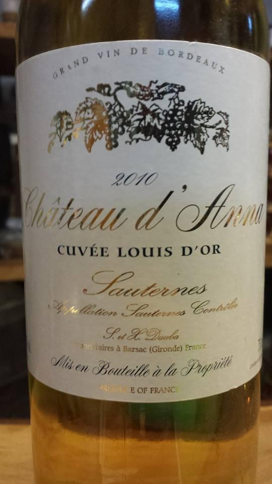 Château d'Anna – Cuvée Louis d'Or 2010 – Sauternes