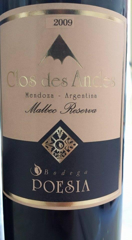 Bodega Poesia – Clos des Andes 2009 – Malbec Reserva – Mendoza