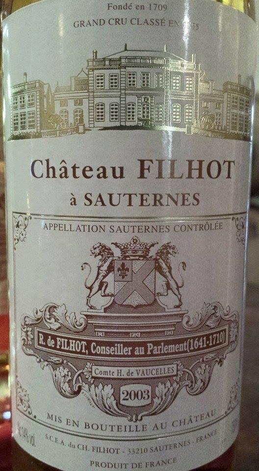 Château Filhot 2003 – 2nd Grand Cru Classé de Sauternes