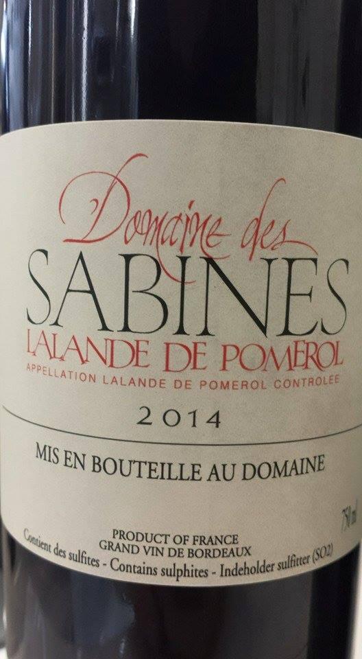 Domaine des Sabines 2014 – Lalande-de-Pomerol