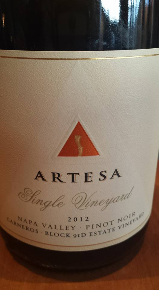Artesa Winery – Pinot Noir 2012 – Block 91D – Single Vineyard – Napa Valley
