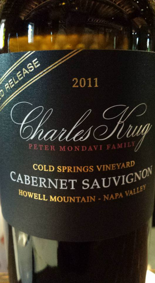 Charles Krug – Cabernet Sauvignon 2011 – Cold Spring Vineyard – Howell Mountain – Limited Release – Napa Valley