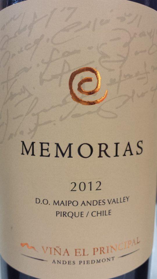 Viña El Principal – Memorias 2012 – D.O. Maipo Valley – Chile