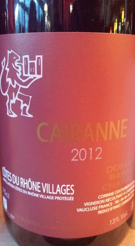 Domaine Rabasse Charavin 2012 – Côtes du Rhône Villages Cairanne ...