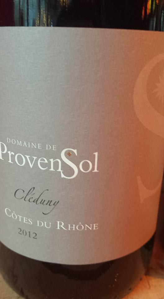 Domaine de Provensol – Cléduny 2012 – Côtes du Rhône