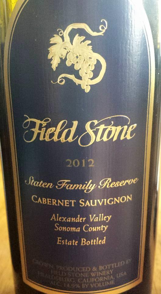 Field Stone Winery – Cabernet Sauvignon 2012 – Staten Family Reserve – Alexander Valley – Sonoma County