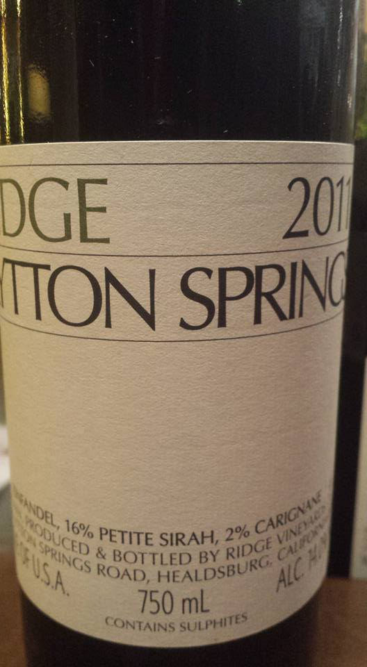 Ridge Vineyards – Lytton Springs 2011 – Dry Creek Valley – Sonoma