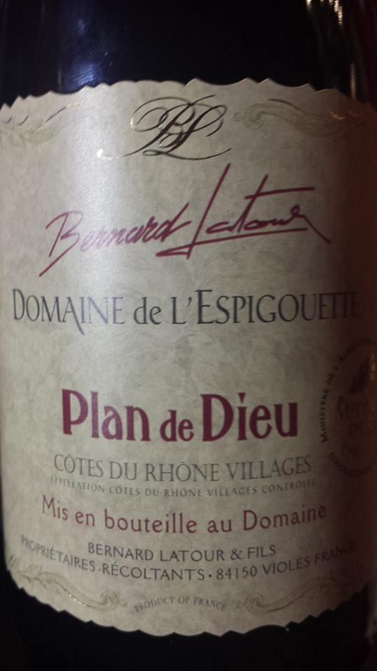 Bernard Latour – Domaine de l'Espigouette 2013 – Côtes du Rhône Villages Plan de Dieu