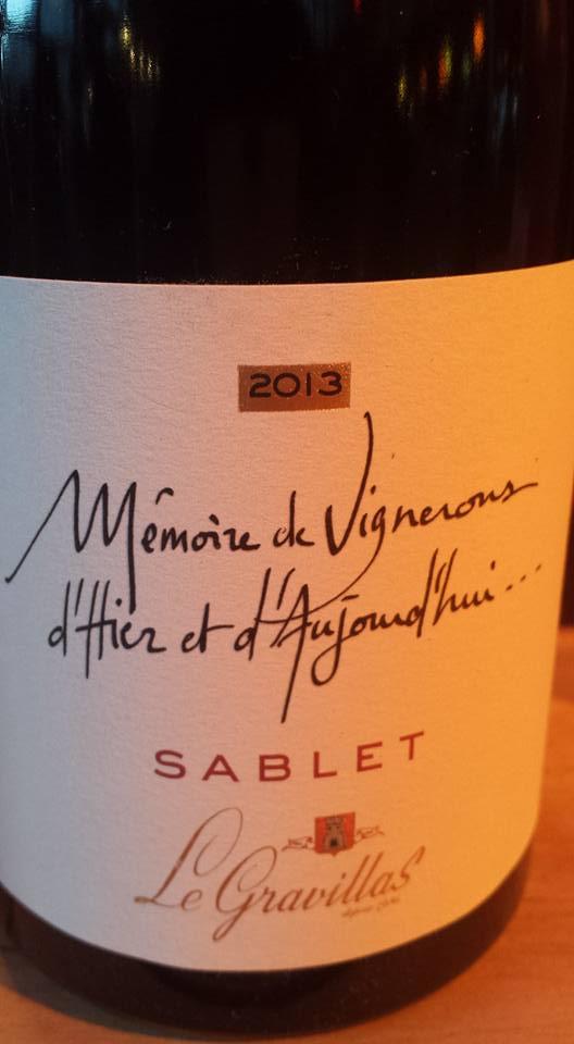 Cave Le Gravillas – Mémoire de Vignerons 2013 – Côtes du Rhône Villages Sablet