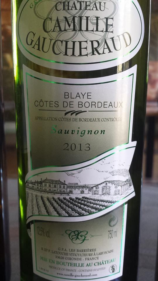 Château Camille Gaucheraud – Cuvée Sauvignon Blanc 2013 – Blaye Côtes de Bordeaux