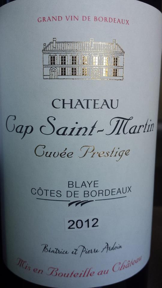 Château Cap Saint Martin – Cuvée Prestige 2012 – Blaye Côtes de Bordeaux