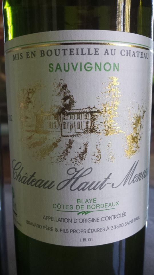 Château Haut-Meneau – Sauvignon 2012 – Blaye Côtes de Bordeaux
