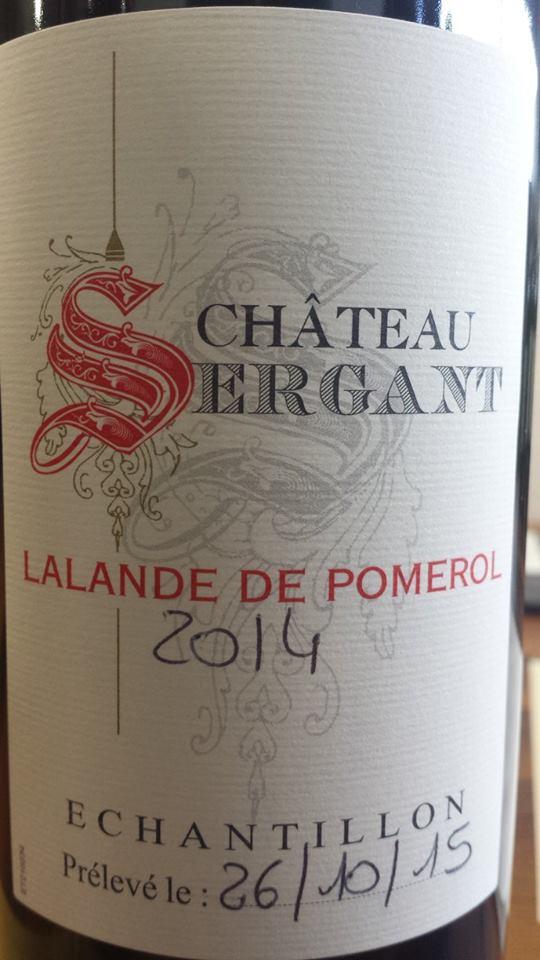 Château Sergant 2014 – Lalande de Pomerol