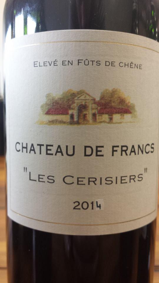 Château de Francs – Les Cerisiers 2014 – Francs Côtes de Bordeaux