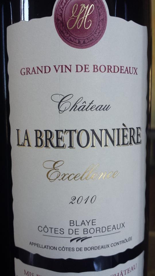 Château la Bretonnière – Cuvée Excellence 2010 – Blaye Côtes de Bordeaux