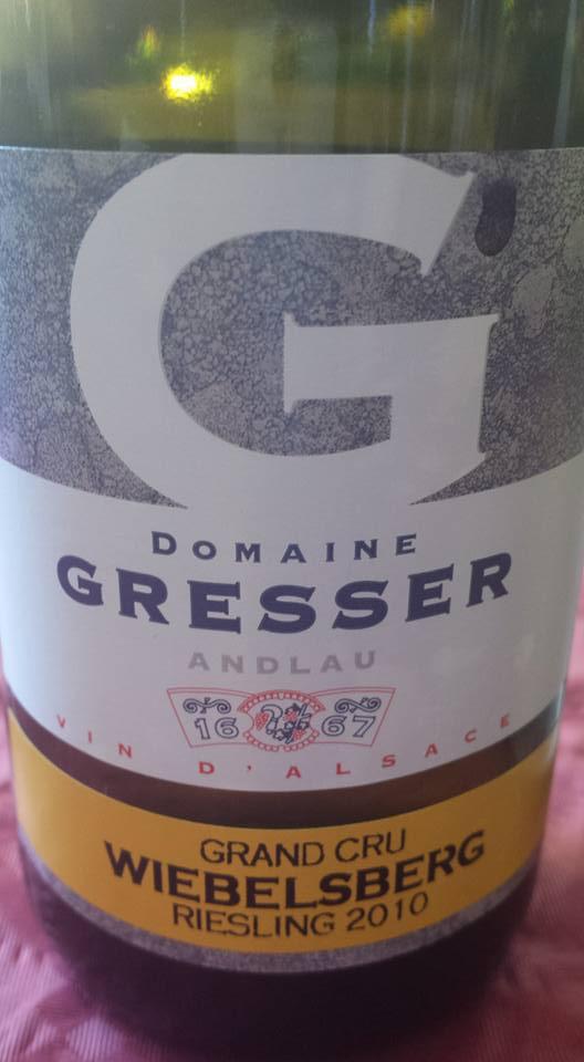 Domaine Gresser – Riesling 2010 – Grand Cru Wiebelsberg – Alsace