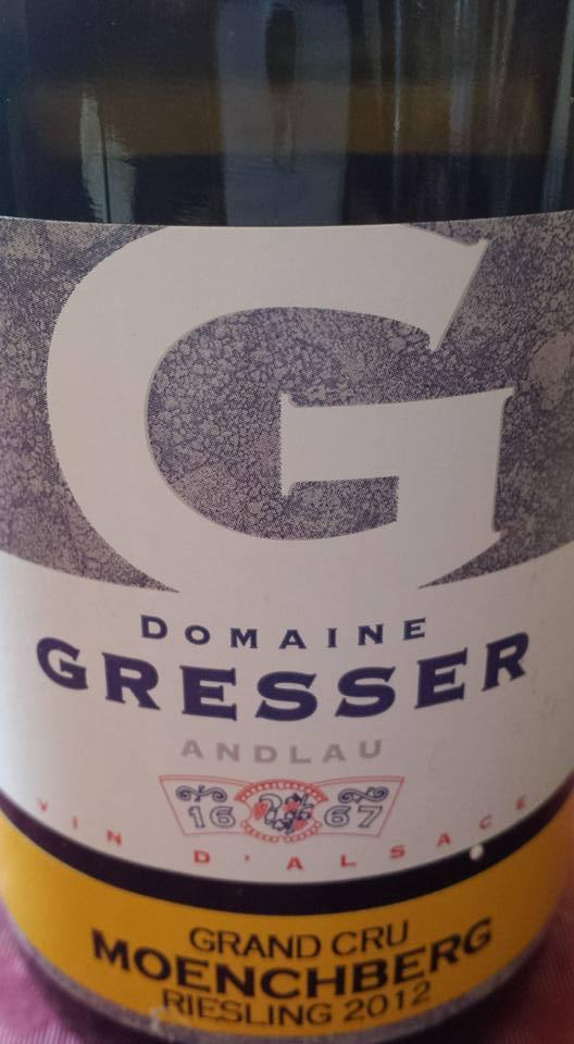 Domaine Rémy Gresser – Moenchberg Riesling 2012 – Alsace Grand Cru