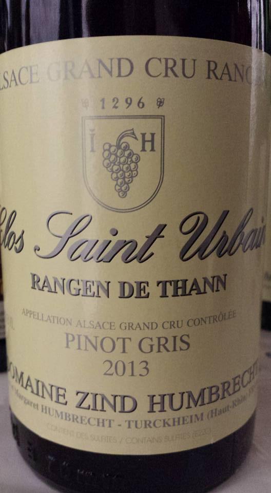 Domaine Zind Humbrecht – Pinot Gris 2013 – Clos Saint Urbain – Rangen de Thann – Alsace Grand Cru
