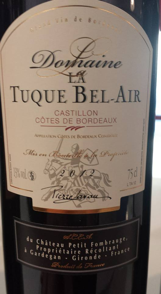 Domaine la Tuque Bel Air 2012 – Castillon côtes de Bordeaux