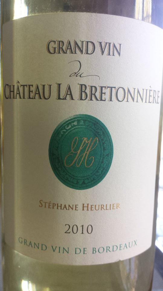 Grand Vin Blanc du Château La Bretonnière 2010 – Blaye Côtes de Bordeaux