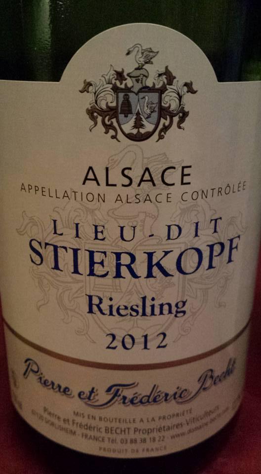 Pierre et Frédéric Becht – Lieu-dit Stierkopf – Riesling 2012 – Alsace