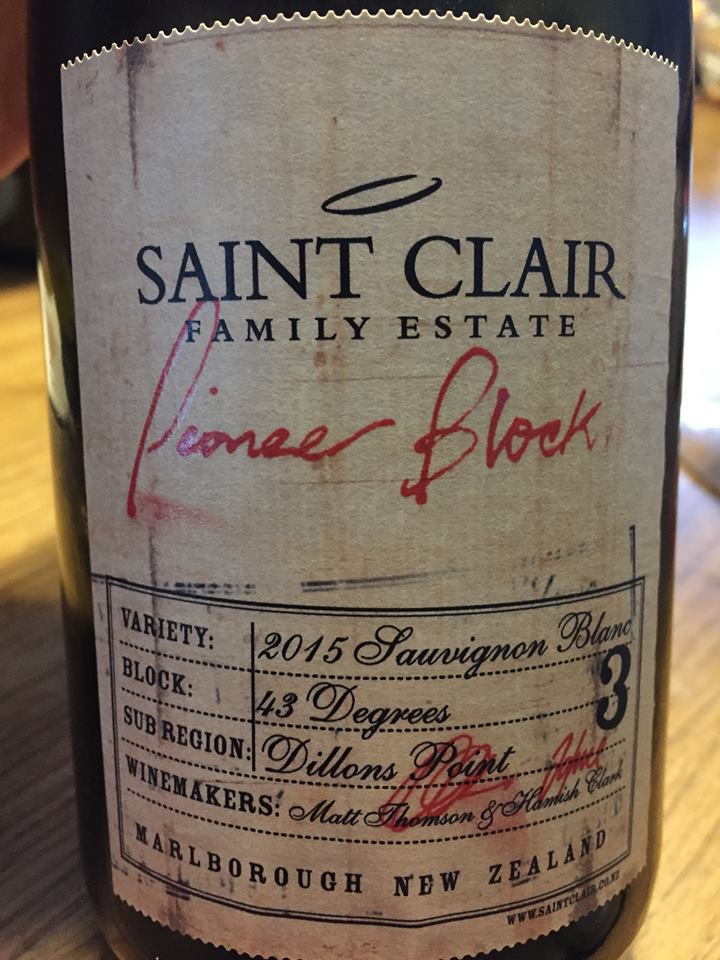 Saint Clair Family Estate – Pioneer Block 3 – Sauvignon Blanc 2015 – Marlborough, Dillons Point