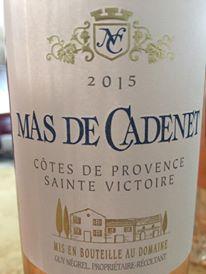 Mas de Cadenet 2015 – Côtes de Provence Sainte Victoire