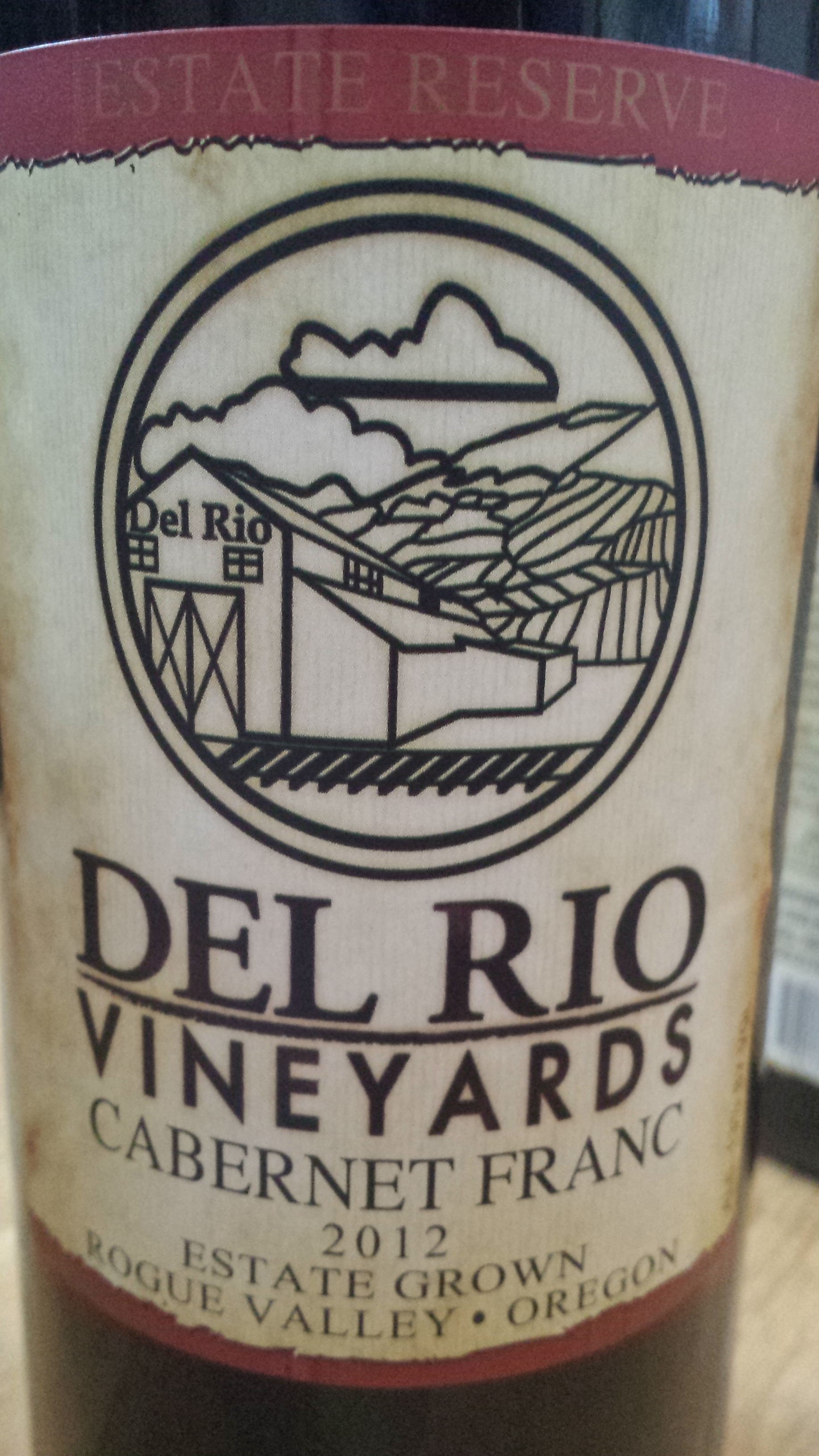 Del Rio Vineyards – Cabernet Franc 2012 – Estate Grown – Estate Reserve – Rogue Valley