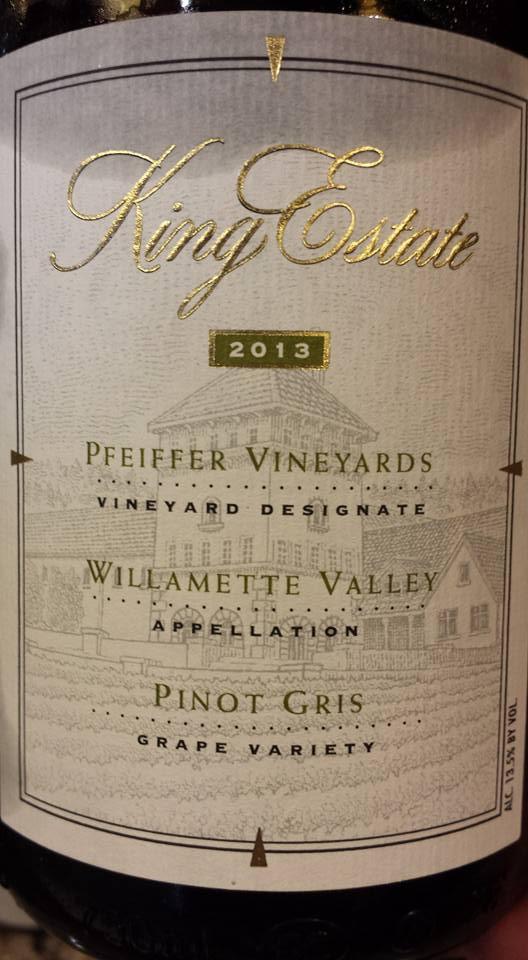 King Estate – Pfeiffer Vineyards – Pinot Gris 2013 – Willamette Valley