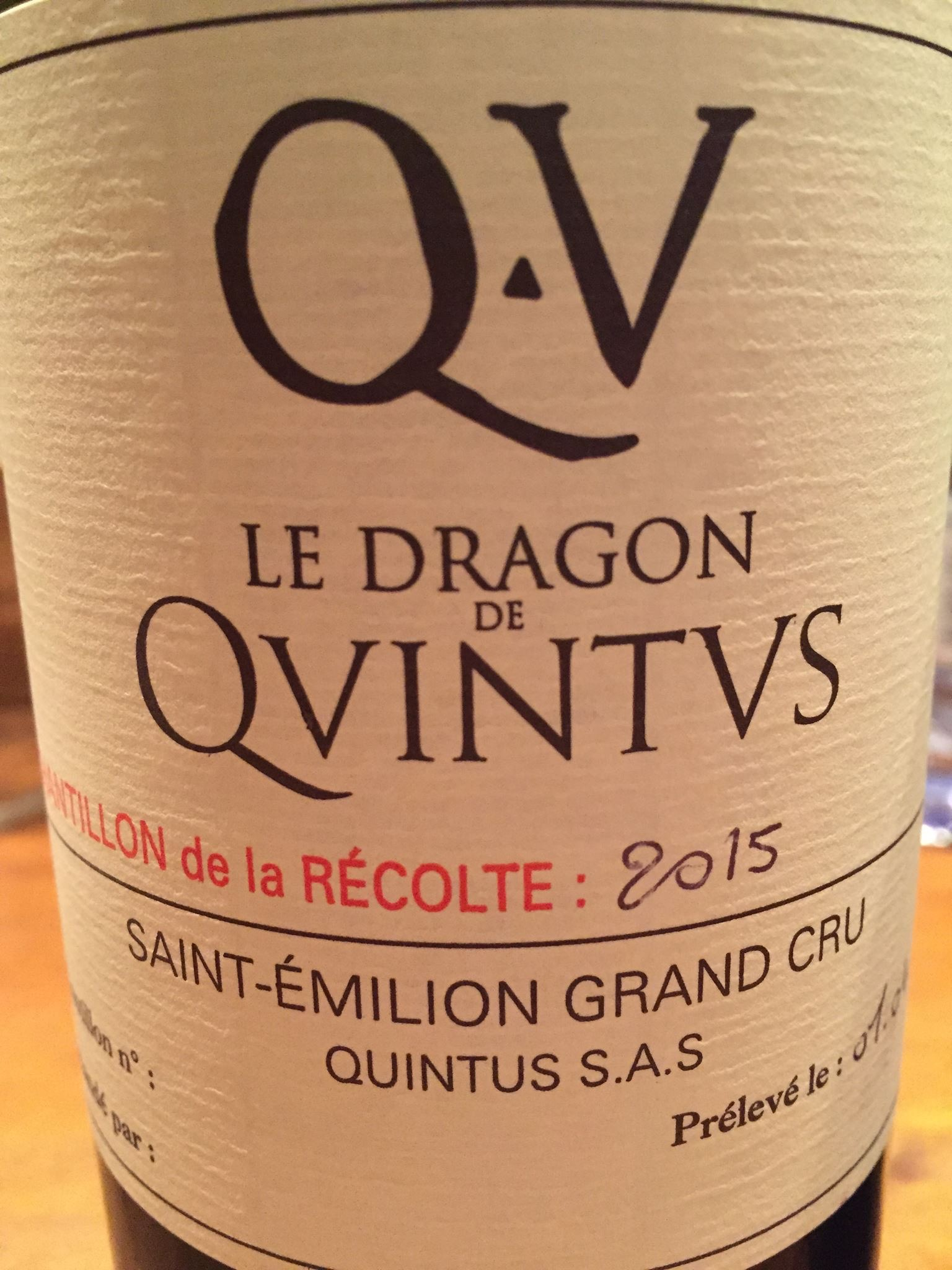 Le Dragon de Quintus 2015 – Saint-Emilion Grand Cru