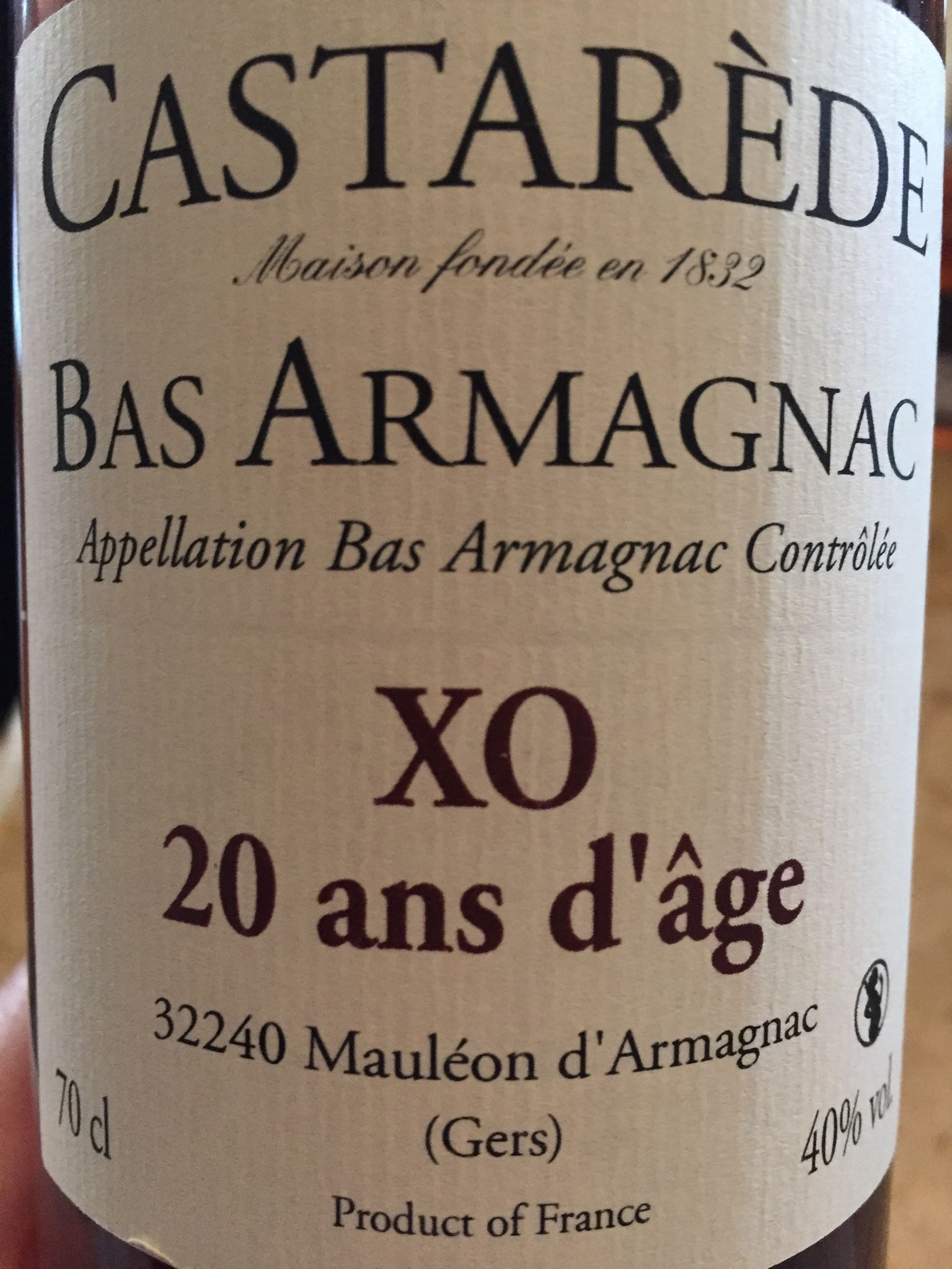 Castarède – XO 20 ans d'âge – Bas-Armagnac