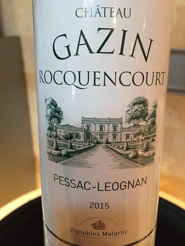 Château Gazin Rocquencourt 2015 – Pessac-Léognan