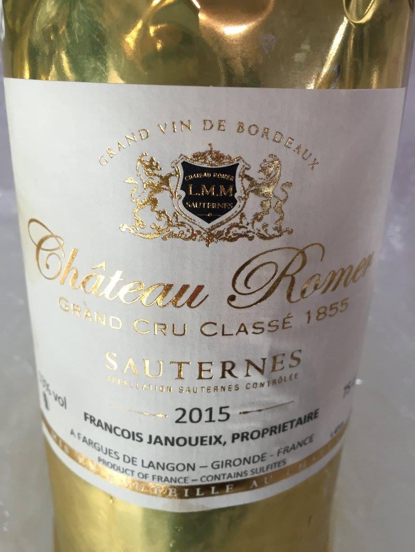 Château Romer 2015 – Sauternes, 2nd Cru Classé