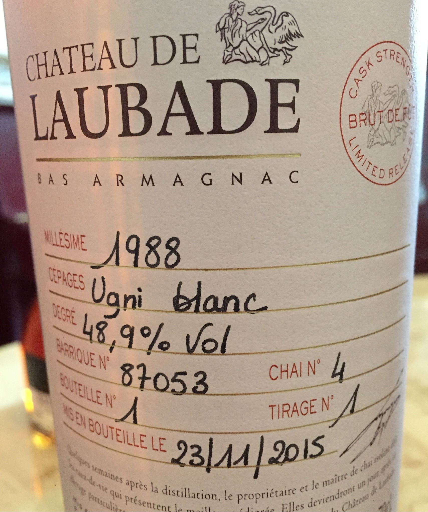 Château de Laubade 1988 – Brut de Fût / Cask Strength – Bas-Armagnac