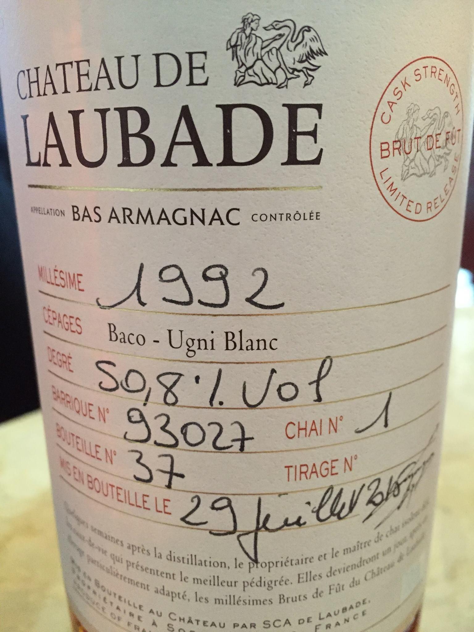 Château de Laubade 1992 – Brut de Fût / Cask Strength – Bas-Armagnac
