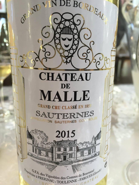 Château de Malle 2015 – Sauternes, 2nd Cru Classé