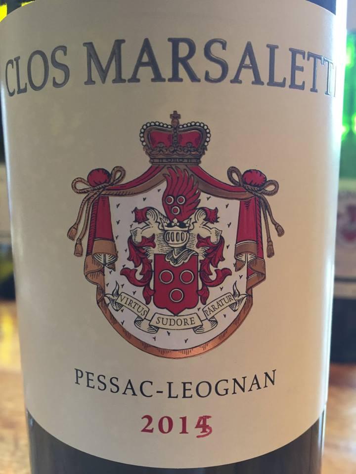 Clos Marsalette 2015 – Pessac-Léognan