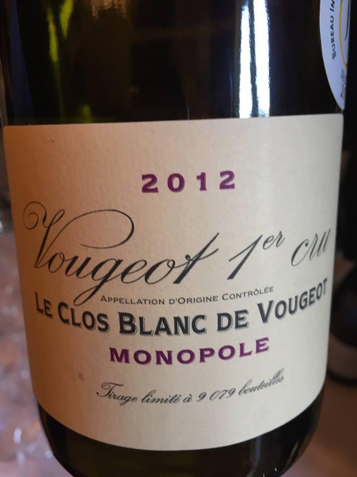 Domaine de la Vougeraie – Le Clos blanc 2012 – Vougeot 1er Cru