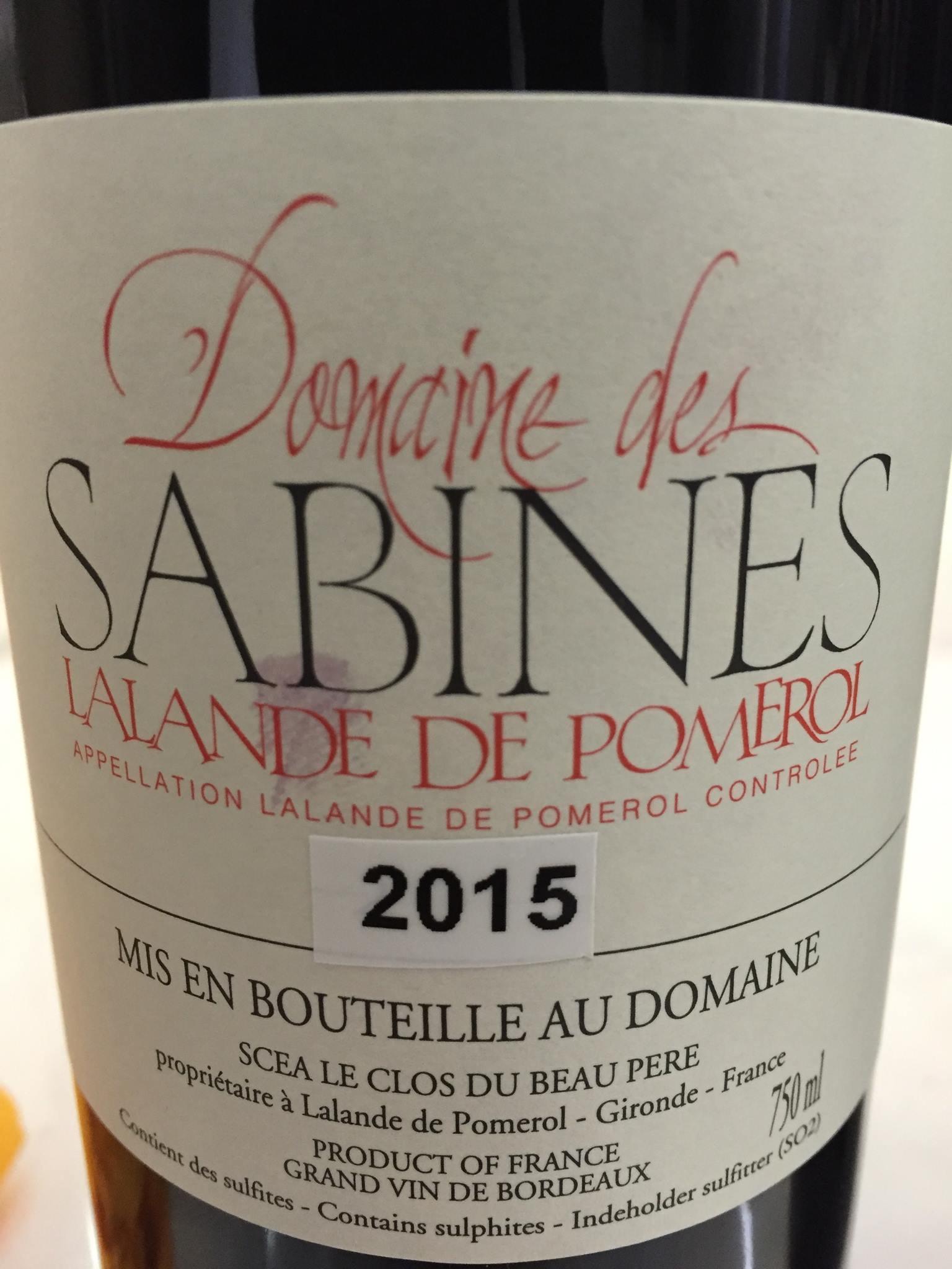 Domaine des Sabines 2015 – Lalande de Pomerol