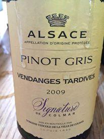Signature de Colmar – Pinot Gris 2009 – Vendanges Tardives – Alsace