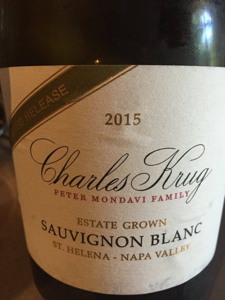 Charles Krug – Sauvignon Blanc Limited Release 2015 – Estate Grown – St Helena – Napa Valley
