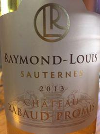 Château Rabaud-Promis – Cuvée Raymond-Louis 2013 – Sauternes