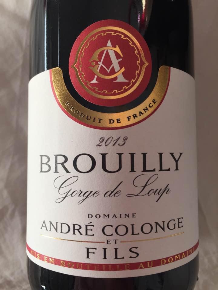 Domaine André Colonge et Fils – Gorge de Loup 2013 – Brouilly