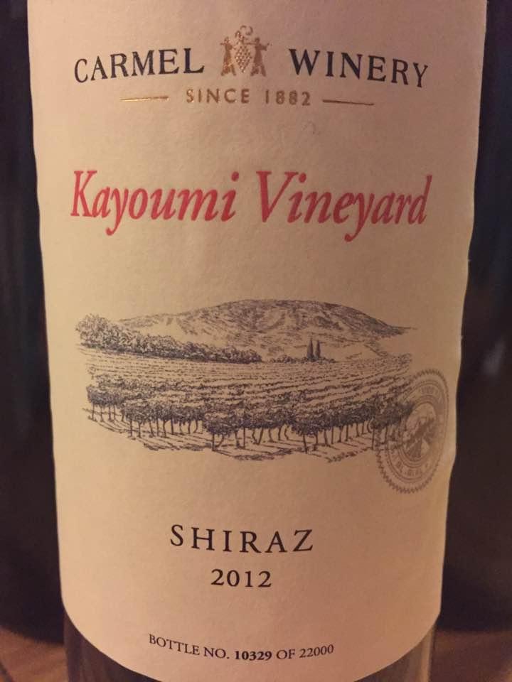 Carmel Winery – Kayoumi Vineyard – Shiraz 2012 – Israël