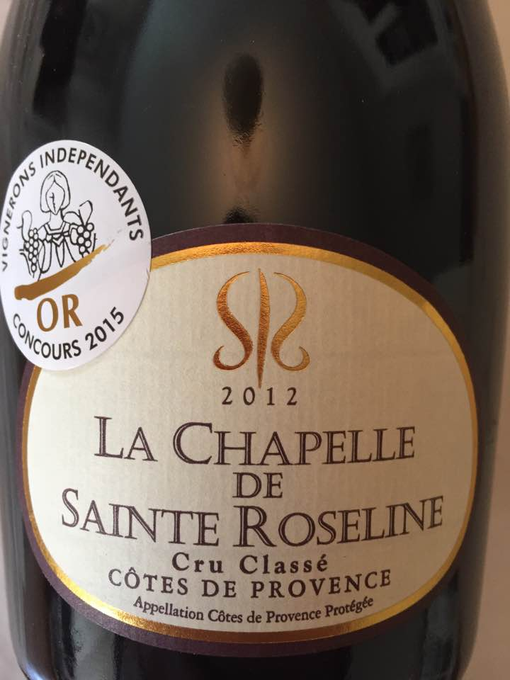 La Chapelle de Sainte Roseline 2012 – Côtes de Provence – Cru Classé