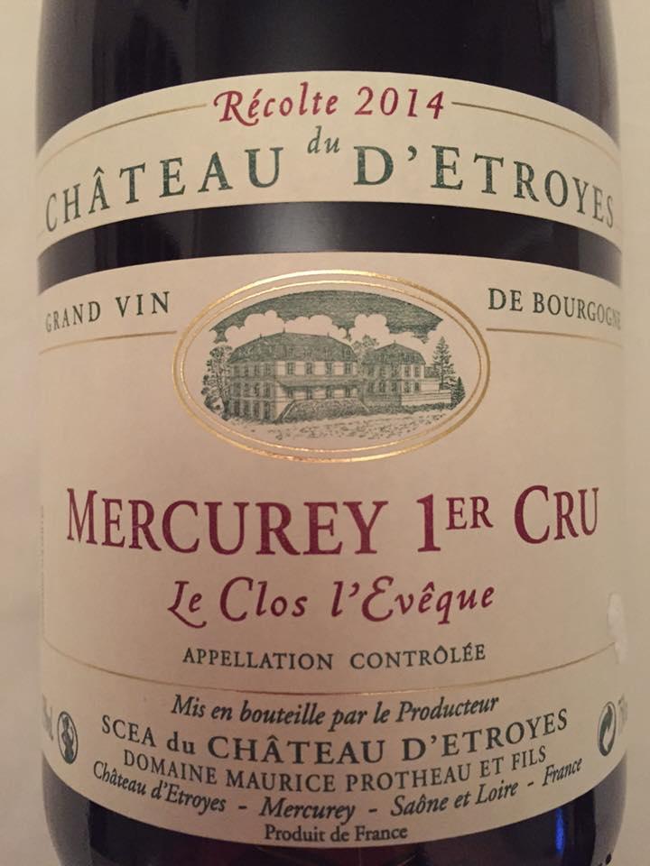 Château D'Etroyes – Le Clos L'evêques 2014 – Mercurey 1er Cru