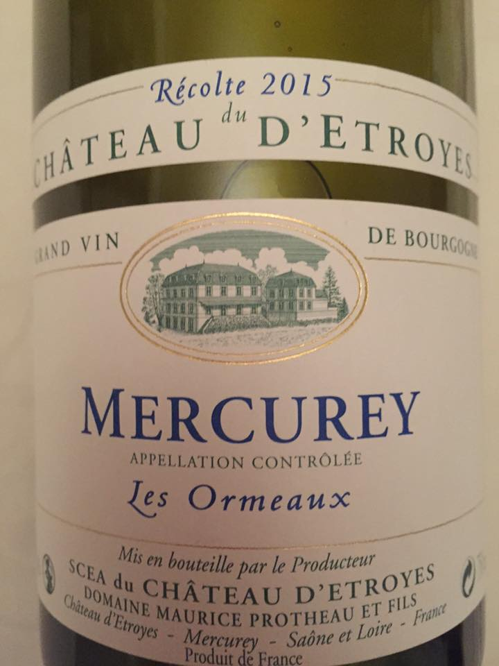 Château d'Etroyes – Les Ormeaux 2015 – Mercurey
