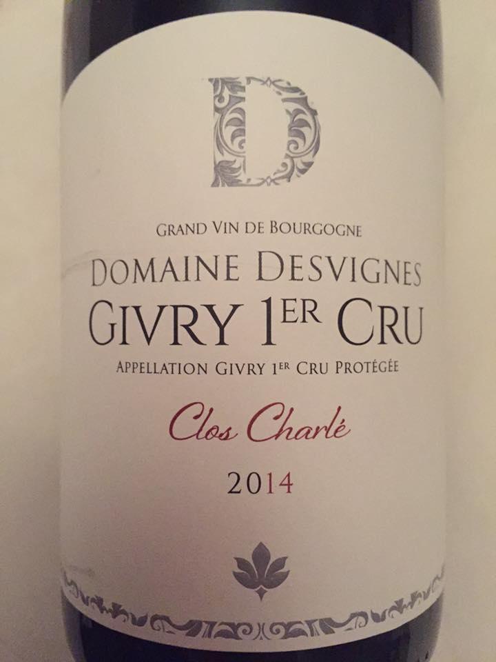 Domaine Desvignes – Clos Charlé 2014 – Givry 1er Cru