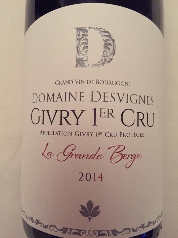 Domaine Desvignes – La Grande Berge 2014 – Givry 1er Cru