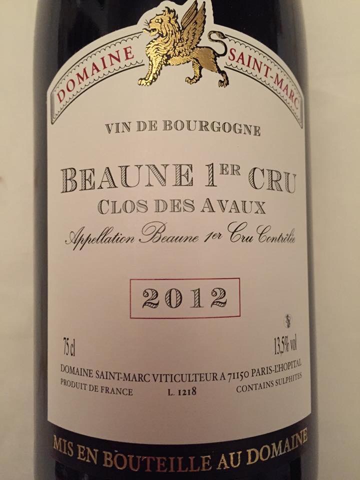 Domaine Saint-Marc – Clos des Avaux 2012- Beaune 1er Cru